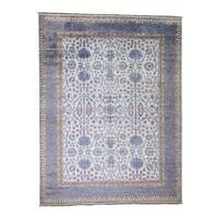 "Shahbanu Rugs Silk Colorful Oushak Hand Knotted Oriental Rug (9'0"" x 12'0"") - 9'0"" x 12'0"""