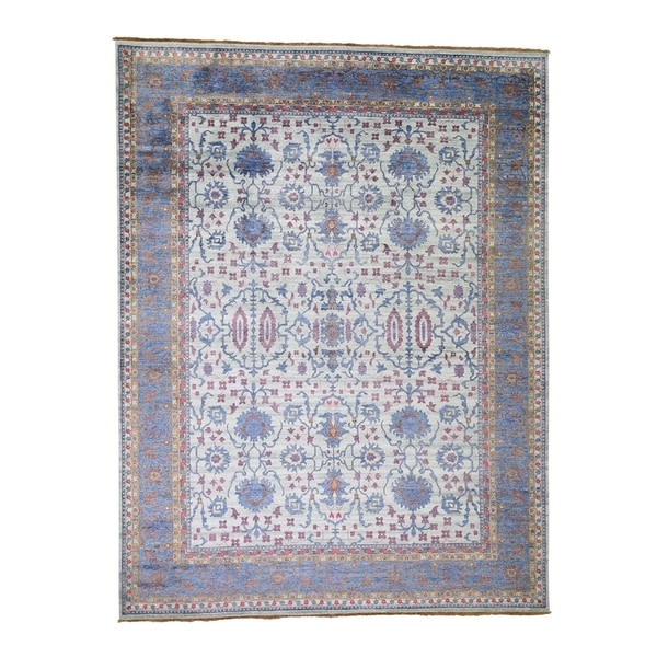 """Shahbanu Rugs Silk Colorful Oushak Hand Knotted Oriental Rug (9'0"""" x 12'0"""") - 9'0"""" x 12'0"""""""