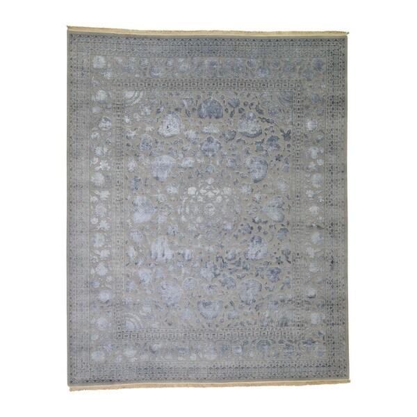 "Shahbanu Rugs Silver Wash Kashan Design Half Wool Half Silk Hand Knotted Rug (8'0"" x 9'10"") - 8'0"" x 9'10"""