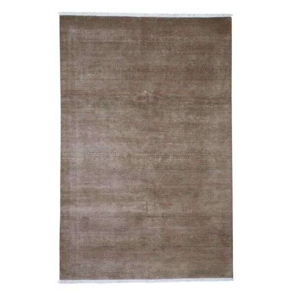 "Shahbanu Rugs Modern Gabbeh Hand Knotted Grass Design Pure Wool Oriental Rug (6'0"" x 9'0"") - 6'0"" x 9'0"""