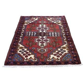 "Shahbanu Rugs Vintage Persian Hamadan Pure Wool Hand-Knotted Oriental Rug (3'5"" x 5'3"") - 3'5"" x 5'3"""