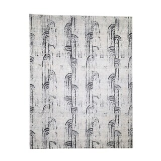 """Shahbanu Rugs THE CANE, Pure Silk With Oxidized Wool Hand-Knotted Rug (8'0"""" x 10'4"""") - 8'0"""" x 10'4"""""""