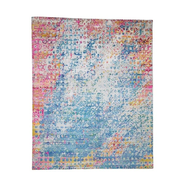 "Shahbanu Rugs THE PEACOCK Sari Silk Colorful Hand-Knotted Oriental Rug (8'1"" x 10'0"") - 8'1"" x 10'0"""