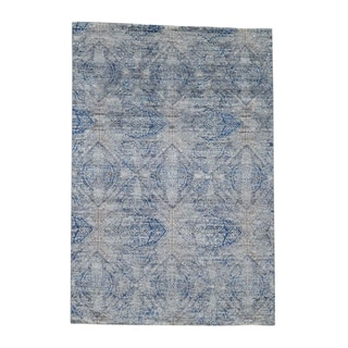 "Shahbanu Rugs ERASED ROSSETS,Silk With Oxidized Wool Denim Blue Hand-Knotted Rug (4'9"" x 7'0"") - 4'9"" x 7'0"""