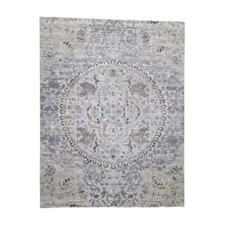 """Shahbanu Rugs THE MAHARAJA, Pure Silk with Oxidized Wool Hand-Knotted Oriental Rug (7'9"""" x 10'1"""") - 7'9"""" x 10'1"""""""
