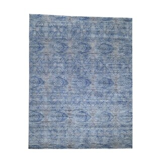 "Shahbanu Rugs ERASED ROSSETS,Silk With Oxidized Wool Denim Blue Rug (8'0"" x 10'2"") - 8'0"" x 10'2"""