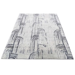 "Shahbanu Rugs THE CANE, Pure Silk With Oxidized Wool Hand-Knotted Rug (4'0"" x 6'3"") - 4'0"" x 6'3"""
