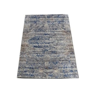 "Shahbanu Rugs ERASED ROSSETS,Silk With Oxidized Wool Denim Blue Hand-Knotted Rug (2'0"" x 3'0"") - 2'0"" x 3'0"""
