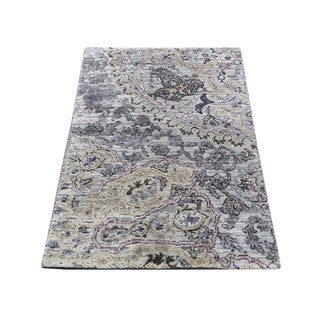 """Shahbanu Rugs THE MAHARAJA ,Pure Silk with Oxidized Wool Hand-Knotted Oriental Rug (2'0"""" x 3'1"""") - 2'0"""" x 3'1"""""""