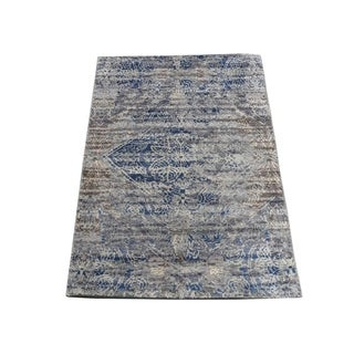 "Shahbanu Rugs ERASED ROSSETS,Silk With Oxidized Wool Denim Blue Hand-Knotted Rug (2'0"" x 3'1"") - 2'0"" x 3'1"""