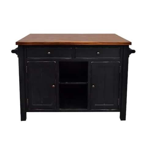 222 Fifth Atlantic Black Kitchen Island (With overhang)
