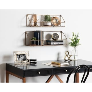 Kate and Laurel Westland Wood and Metal Floating Wall Shelves - 2 Piece