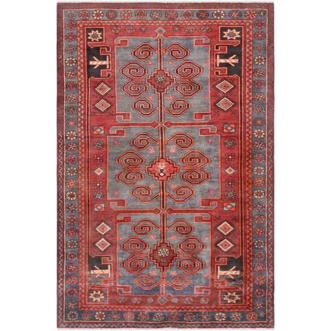 Vintage Hamadan Wool Area Rug - 4'4 x 6'11