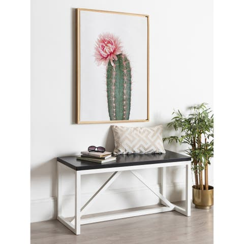 Kate and Laurel Sylvie Pink Cactus Flower Framed Canvas Wall Art