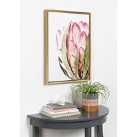 Kate and Laurel Sylvie 'Pink Protea Flower' Framed Canvas Wall Art