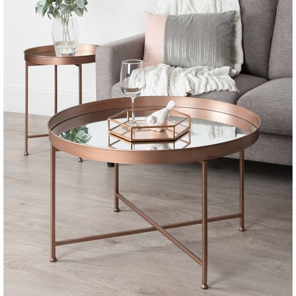 Shop Kate And Laurel Celia Metalglass Round Mirrored Coffee
