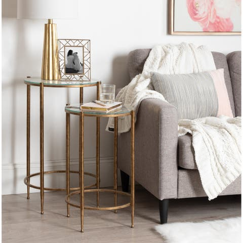 Kate and Laurel Solange Metal and Glass Nesting Tables 2 Piece Set - 2 Piece