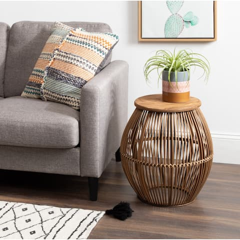 Kate and Laurel Torry Round Tan Bamboo Side Table