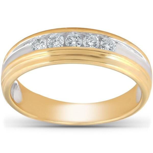 Shop Pompeii3 10k Yellow Gold 1/4 Ct TDW Mens Diamond