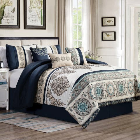 Gracewood Hollow Heco 7-piece Embroidered Comforter Set