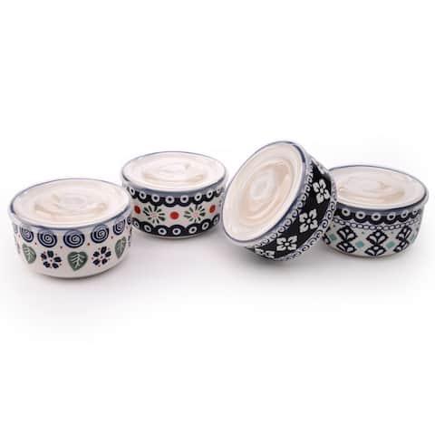 Signature Housewares Blue Pottery Set of Four Assorted 5-Inch Storage Bowls (18oz.)