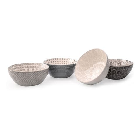 Signature Housewares Pad Print Gray Set of Four Assorted 6-Inch Bowls