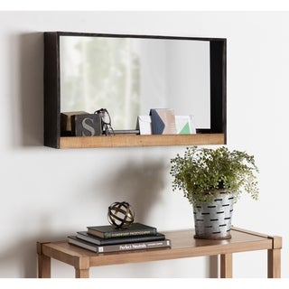 Kate and Laurel Mehta Wood and Metal Shelf Mirror - Rustic Brown - 28x16