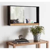 Kate and Laurel Mehta Wood and Metal Shelf Mirror - Rustic Brown - 28x16