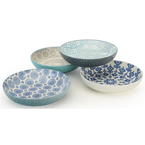 Signature Housewares Pad Print Set of Four Assorted 8.5-Inch Dinner Bowls - N/A