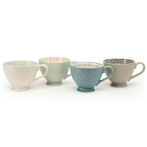 Signature Housewares Pad Print Design PP13 Four Assorted 14-Ounce Footed Mugs