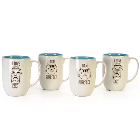 """Signature Housewares Set of Four Assorted 15-Ounce """"I'm Purrfect"""" and """"Coffee Cats"""" Mugs"""