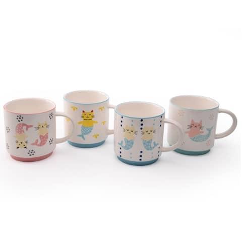 Signature Housewares Mer Cat Set of Four Assorted 16-Ounce Mugs