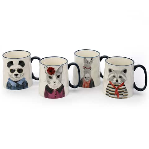 Signature Housewares Hipster Animal Set of Four Assorted 15-Ounce Mugs
