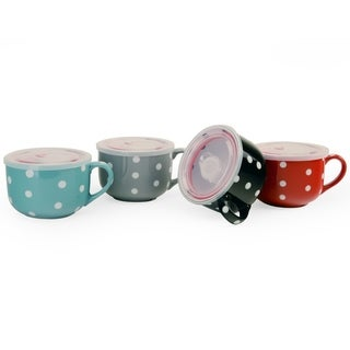 Signature Housewares Set of Four Microwavable 5-Inch Storage Bowls with Lids, Polka Dot Designs
