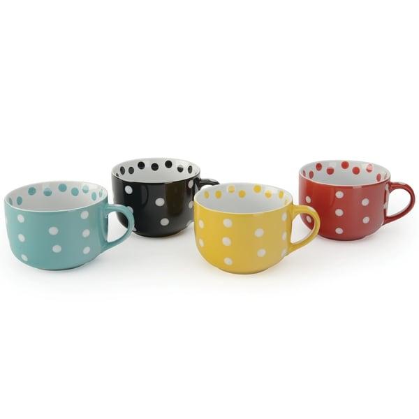 Signature Housewares Dots Jumbo Cups Set of Four 20-Ounce Mugs