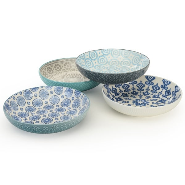 Signature Housewares Pad Print Set of Four 8.5-Inch Dinner Bowls