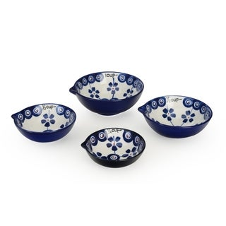 Signature Housewares Set of Four Measuring Cup Set, Blue Pottery