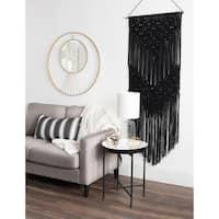 Kate and Laurel Black Macrame Tapestry Hanging Wall Art