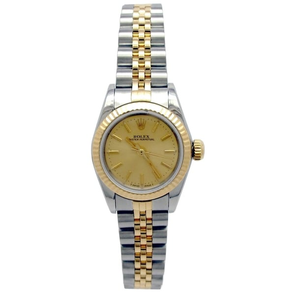 Pre-owned 24mm Rolex 18k Yellow Gold and Stainless Steel Osyter Perpetual Watch with Champagne Dial