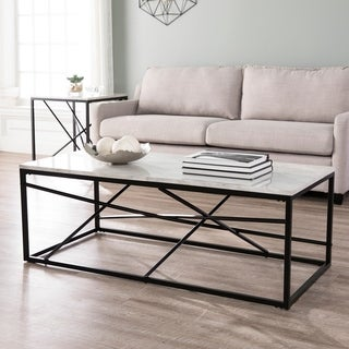 Strick & Bolton Egan White Faux Marble Coffee Table