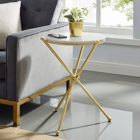 Silver Orchid Hinding Marble-top Accent Side Table