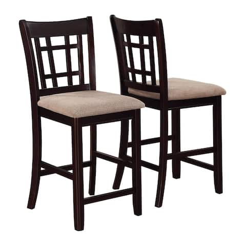 Meerson Tan and Espresso Counter Height Stools (Set of 2)