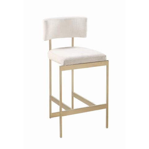 Silver Orchid Orloff Modern Beige and Brass Stool
