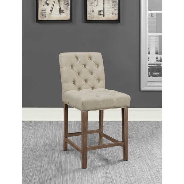 The Gray Barn Tasia Vintage Beige Tufted Stools with Square Back (Set of 2)