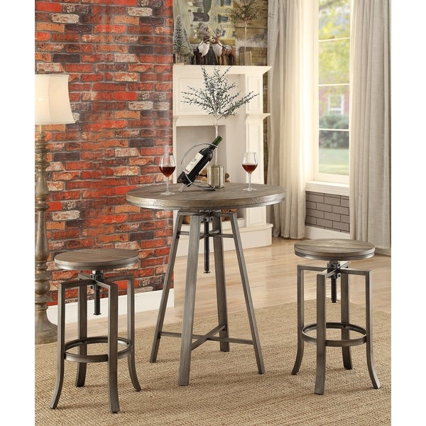 Emil Industrial Medium Walnut Adjustable Bar Stools (Set of 2)
