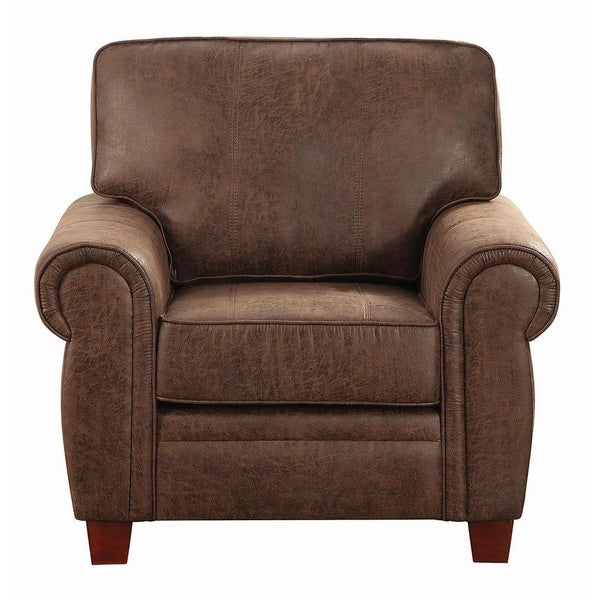 Medford Traditional Brown Rolled Arm Chair