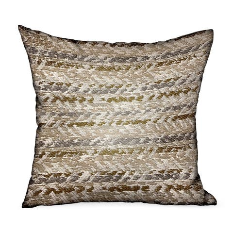 Plutus Antique Zane Brown Dobby Luxury Outdoor/Indoor Decorative Throw Pillow