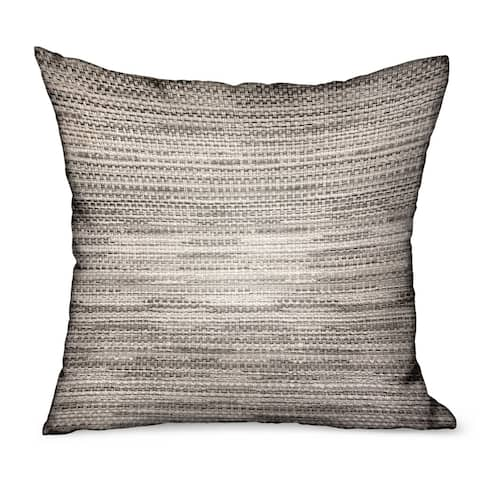 Plutus Silver Lake Weave Silver Solid Luxury Outdoor/Indoor Decorative Throw Pillow