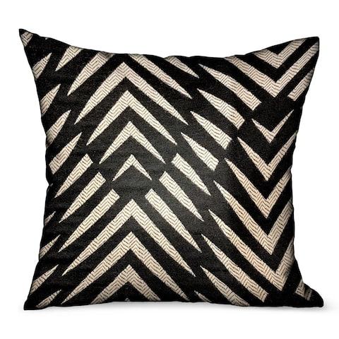 Plutus Raven Palm Black Geometric Luxury Outdoor/Indoor Decorative Throw Pillow