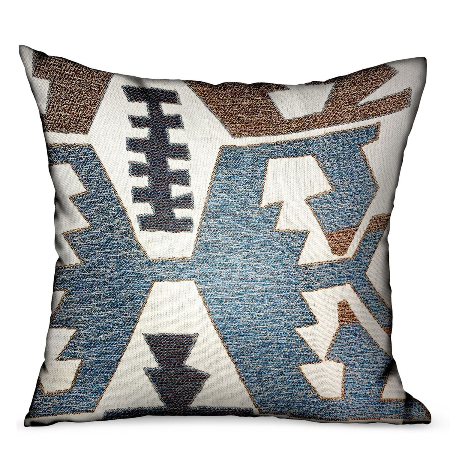 Plutus Wild Chumash Blue Brown Geometric Luxury Outdoor Indoor Decorative Throw Pillow Overstock 27345082